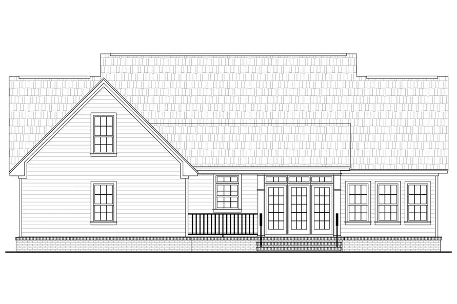 Home Plan Rear Elevation of this 3-Bedroom,1888 Sq Ft Plan -141-1061