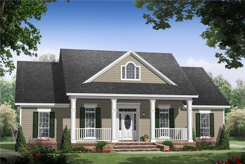 Color rendering of Country home plan (ThePlanCollection: House Plan #141-1061)