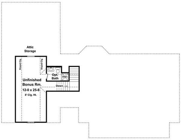 Floor Plan Bonus Room for HPG-1635B