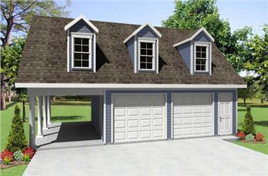 0-Bedroom, 1668 Sq Ft Garage w/Apartments Home Plan - 141-1068 - Main Exterior