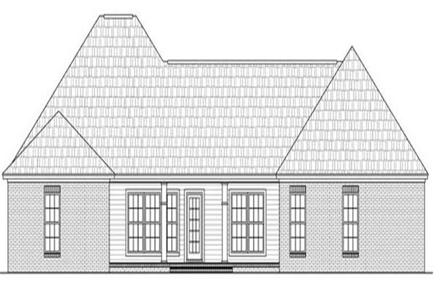 Home Plan Rear Elevation of this 4-Bedroom,2100 Sq Ft Plan -141-1071