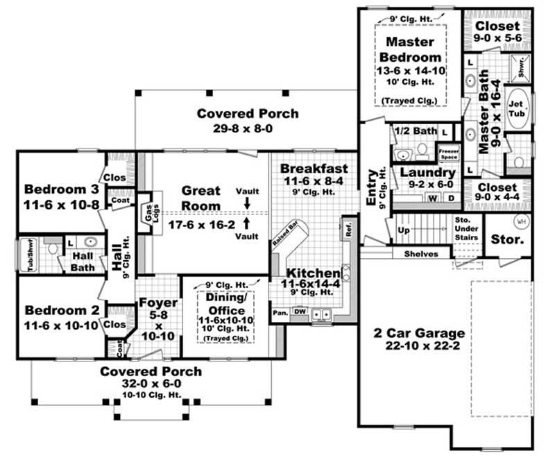 3 Bedrm 1900 Sq Ft Ranch House Plan 141 1072