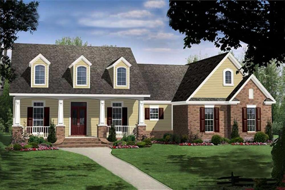 Color rendering of Country home plan (ThePlanCollection: House Plan #141-1073)