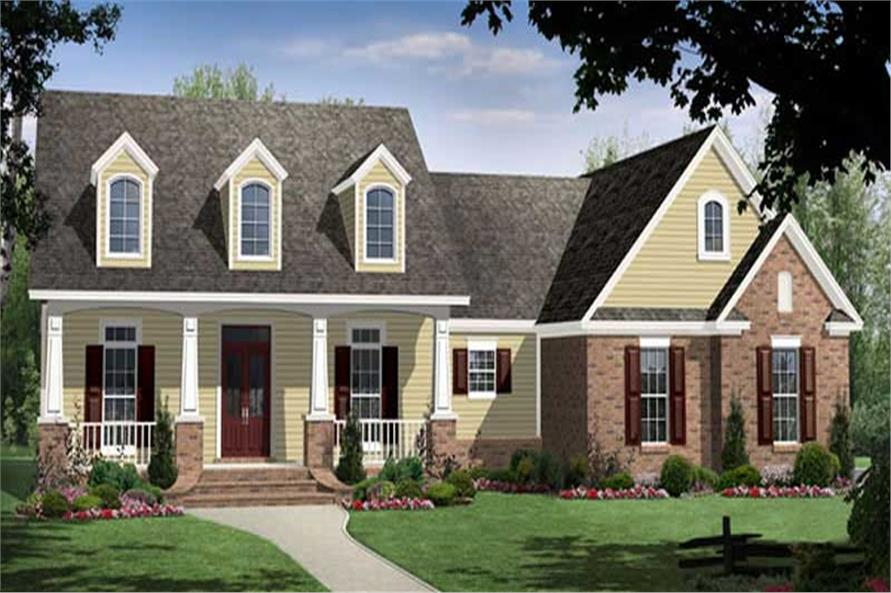 Front elevation of Country home (ThePlanCollection: House Plan #141-1073)