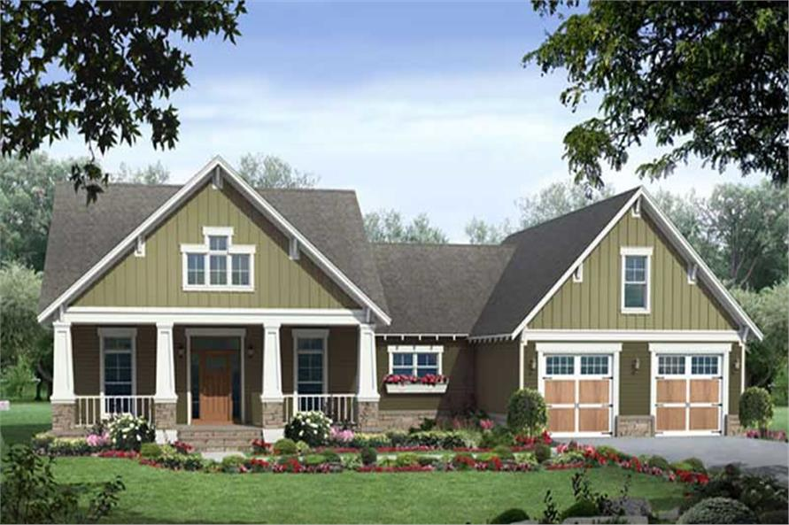 Front elevation of Craftsman home (ThePlanCollection: House Plan #141-1075)