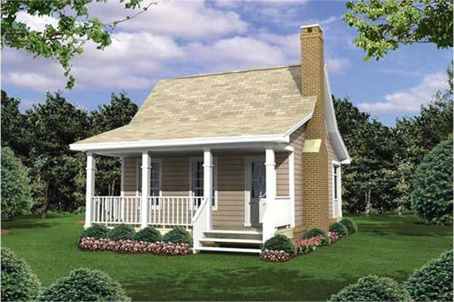 1-Bedroom, 400 Sq Ft Country House Plan - 141-1076 - Front Exterior