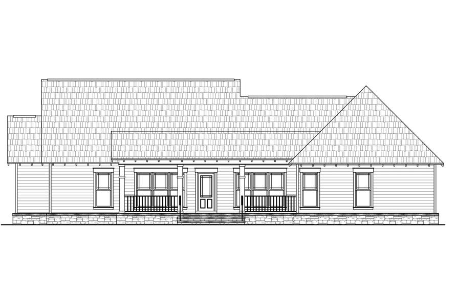 141-1077: Home Plan Rear Elevation
