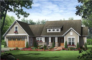 3-Bedroom, 1800 Sq Ft Craftsman House Plan - 141-1077 - Front Exterior