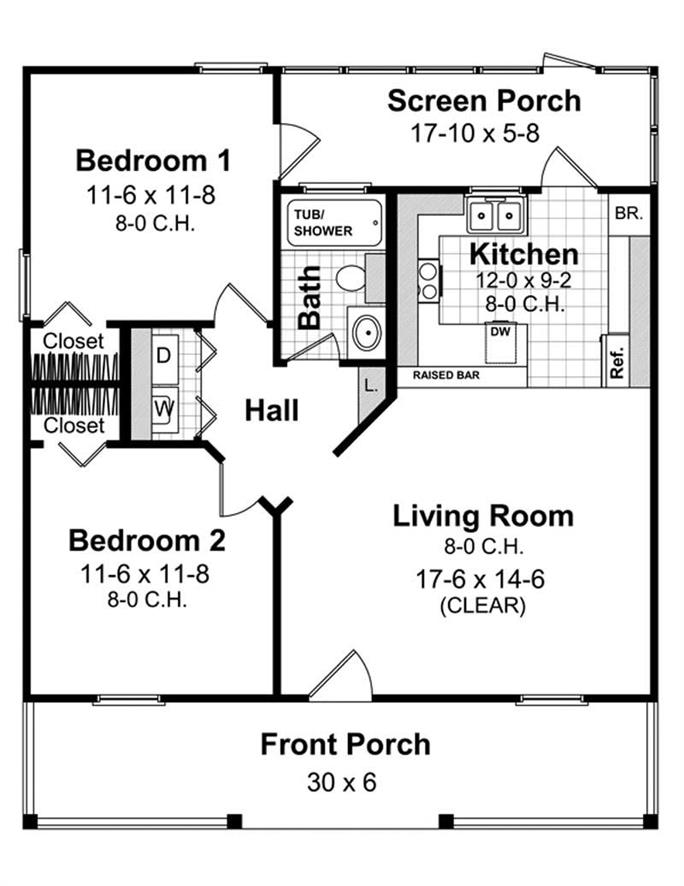 2 Bedrm 800 Sq Ft Country House Plan 141 1078