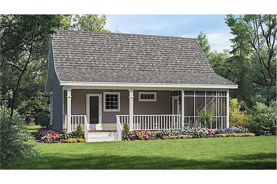 Rear View of this 1-Bedroom,600 Sq Ft Plan -141-1079