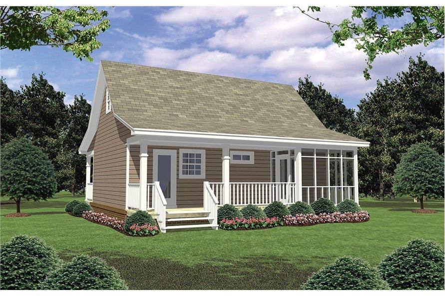 Home Plan Rear Elevation of this 1-Bedroom,600 Sq Ft Plan -141-1079