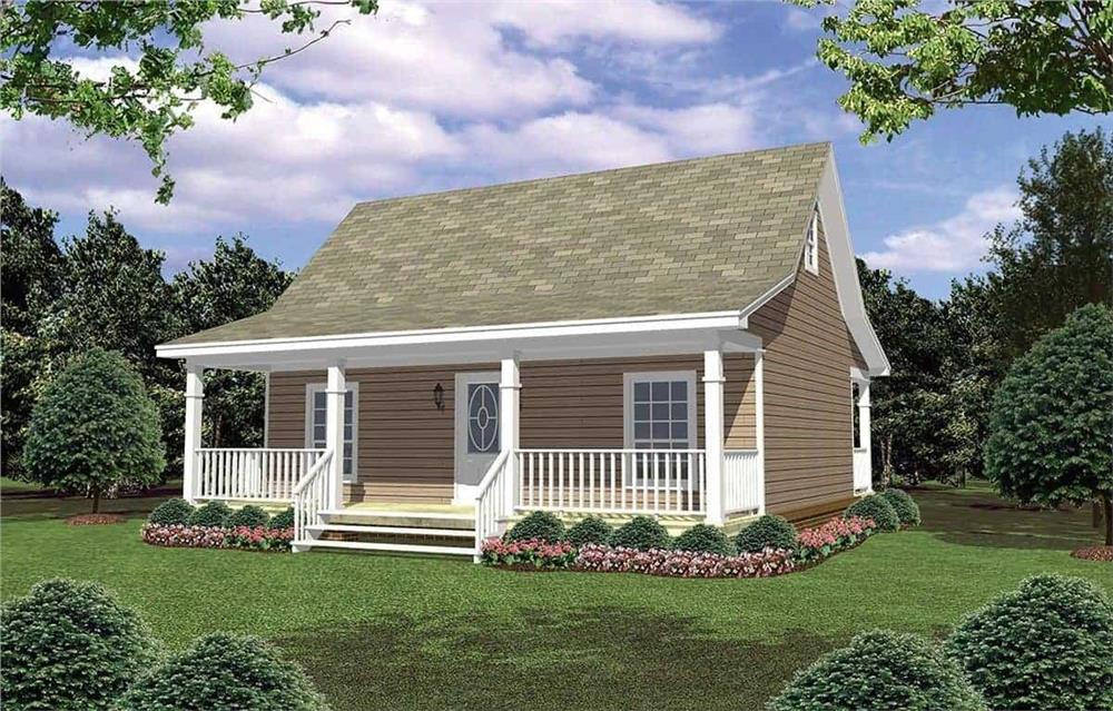 Front elevation of Small House Plans home (ThePlanCollection: House Plan #141-1079)