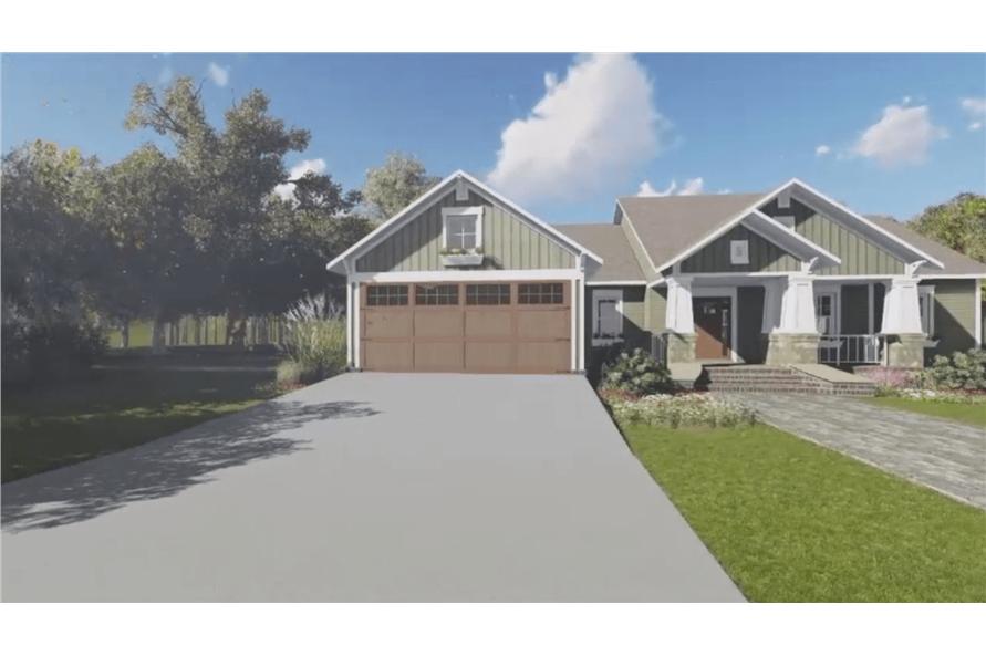 141-1081: Home Plan Rendering-Front View