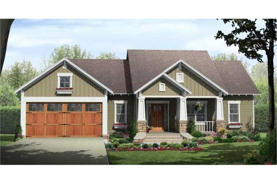 Home Plan Front Elevation of this 3-Bedroom,1604 Sq Ft Plan -141-1081