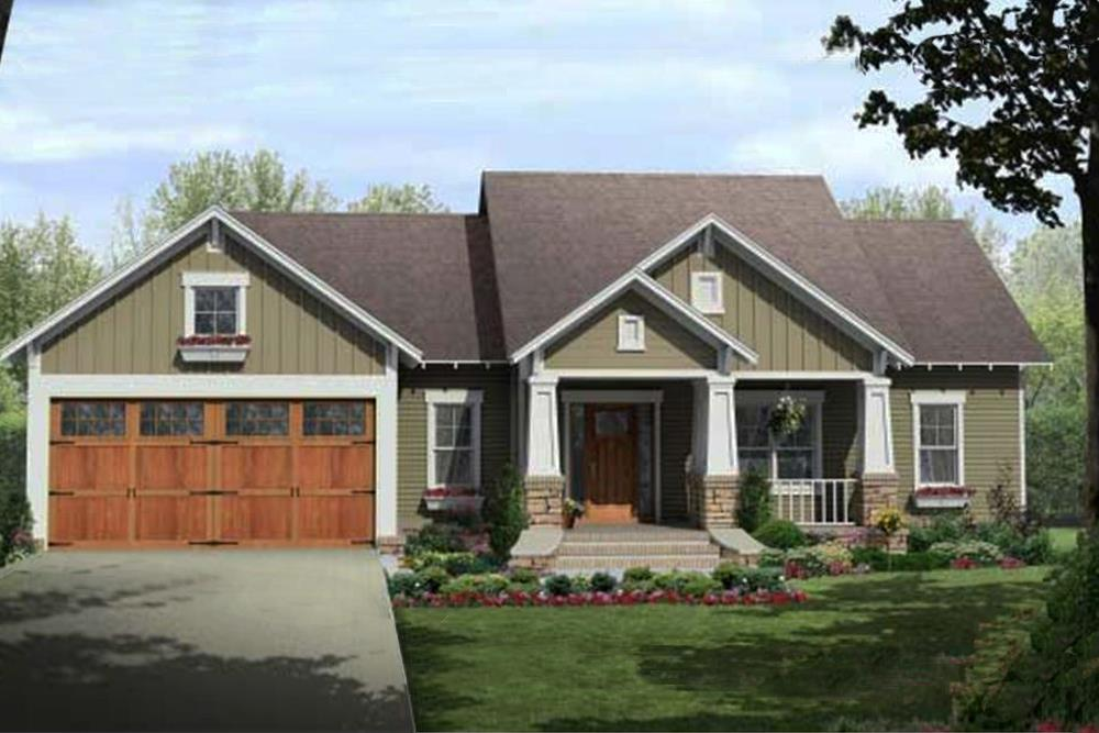 Color rendering of Craftsman home plan (ThePlanCollection: House Plan #141-1081)