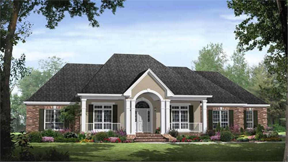 Front elevation of Acadian home (ThePlanCollection: House Plan #141-1082)