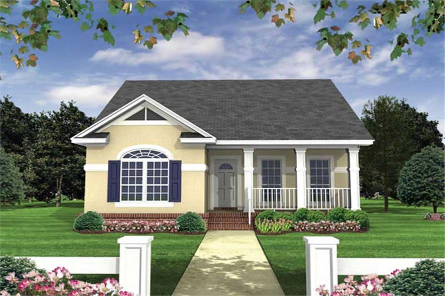 2-Bedroom, 1100 Sq Ft Country House Plan - 141-1083 - Front Exterior