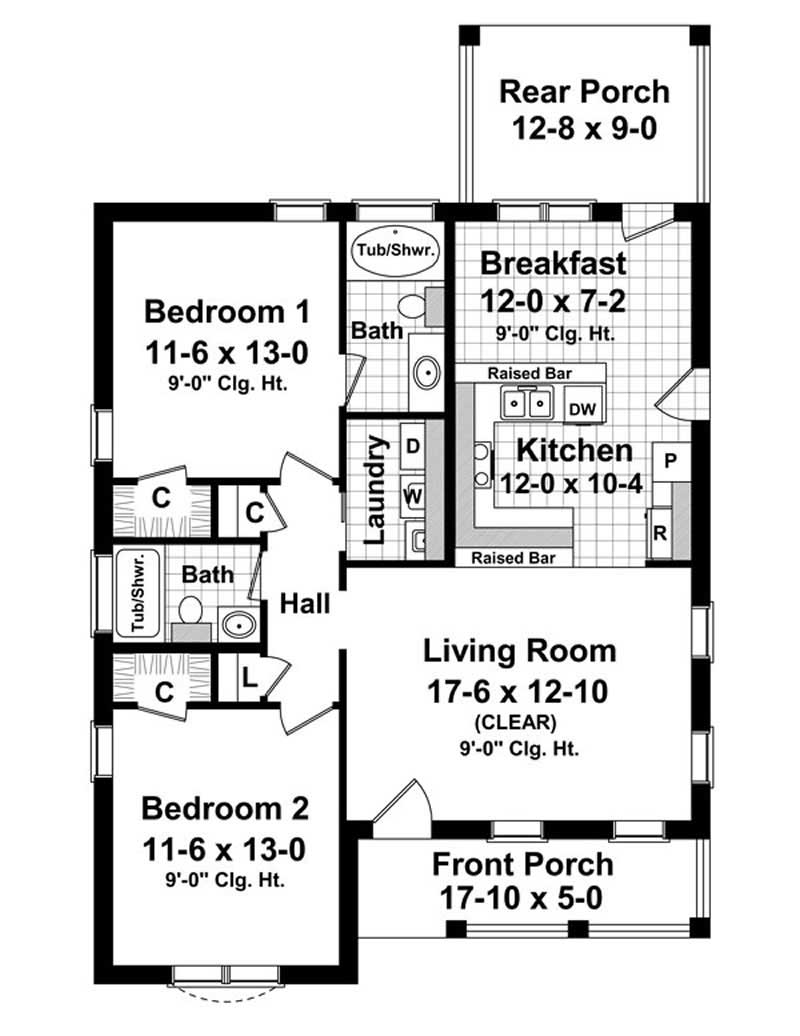 House Plan HPG-1100-1 Main Floor Plan