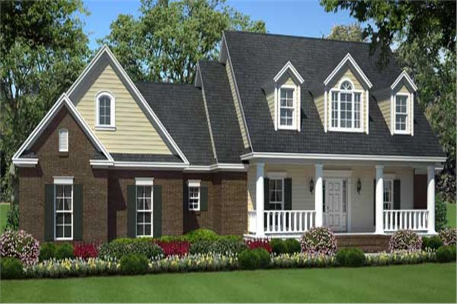 Front elevation of Country home (ThePlanCollection: House Plan #141-1088)
