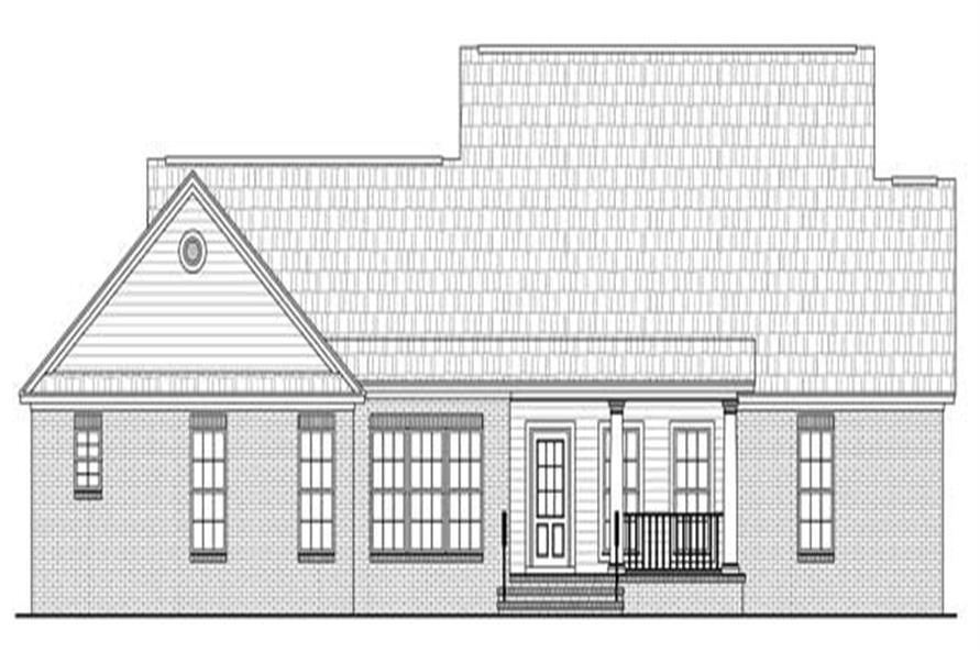 Home Plan Rear Elevation of this 3-Bedroom,1700 Sq Ft Plan -141-1091