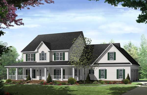 This is a very clean computerized image that shows the front elevation of these Country House Plans.