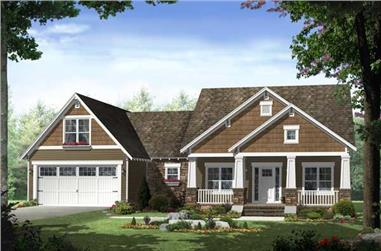 3-Bedroom, 1619 Sq Ft Craftsman Home Plan - 141-1096 - Main Exterior