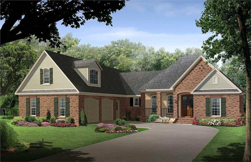 Front elevation of Country home (ThePlanCollection: House Plan #141-1097)