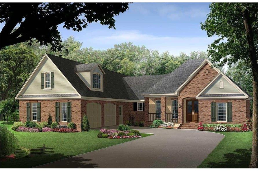 4-Bedroom, 2500 Sq Ft Country House Plan - 141-1097 - Front Exterior