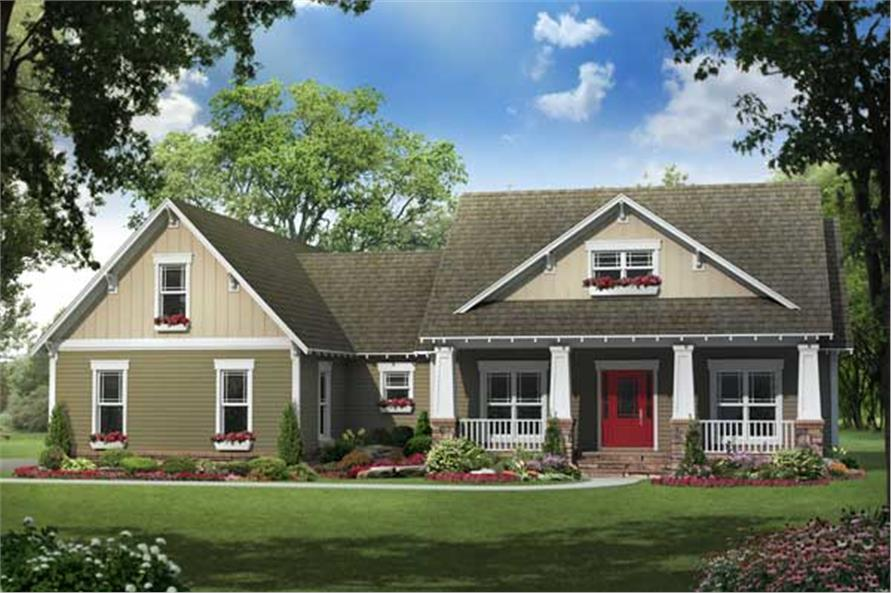 This image shows the front of these Craftsman House Plans.