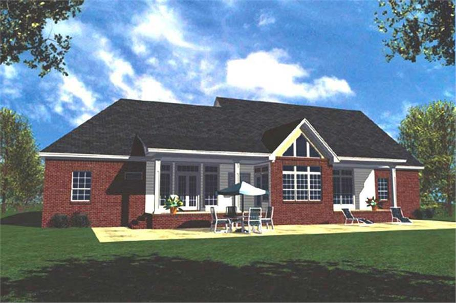 Home Plan Rear Elevation of this 3-Bedroom,2138 Sq Ft Plan -141-1100