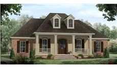 This image shows the front rendering of these French Country House Plans.
