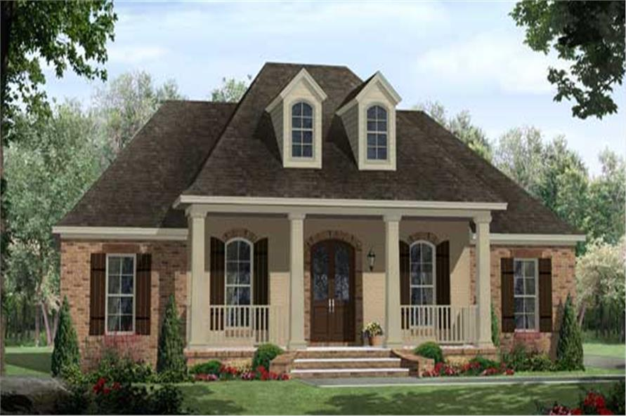 French Country Acadian Style House Plans - Home Design 141-1102