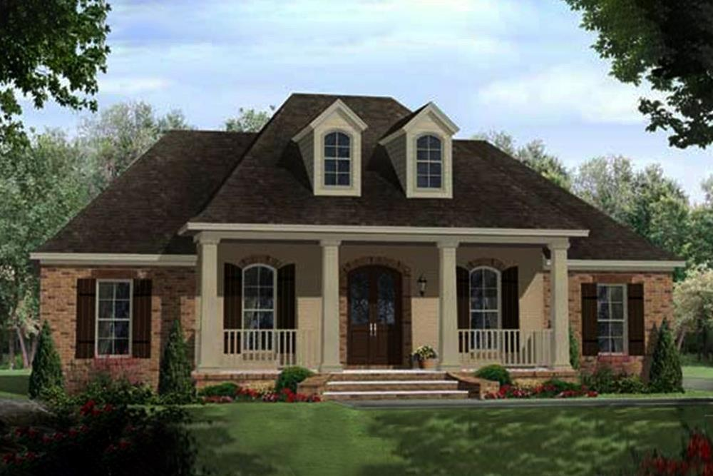 Acadian French style home plan (ThePlanCollection: House Plan #141-1102)