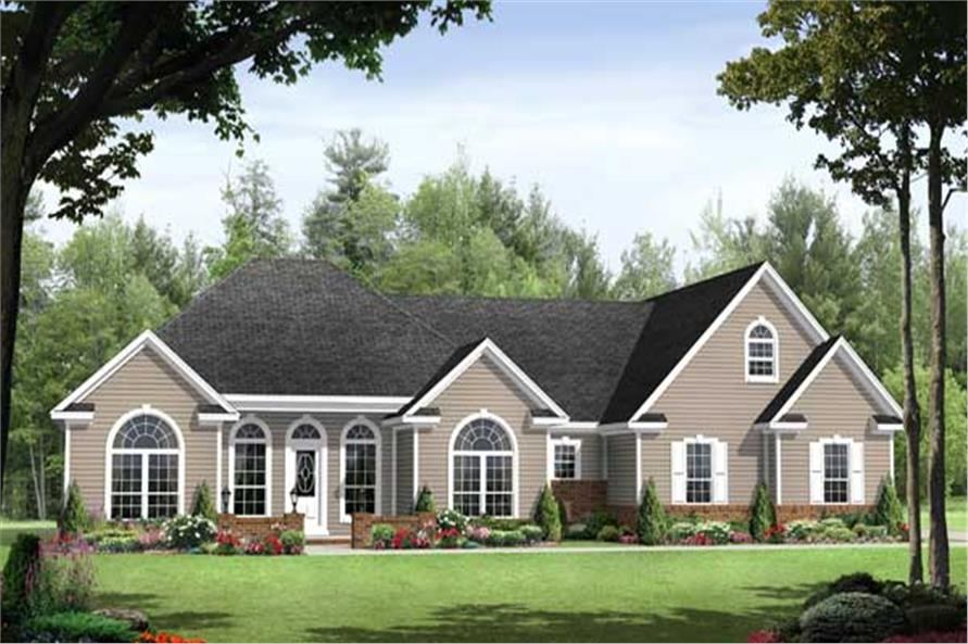 This is a computer rendering of these Traditional House Plans.