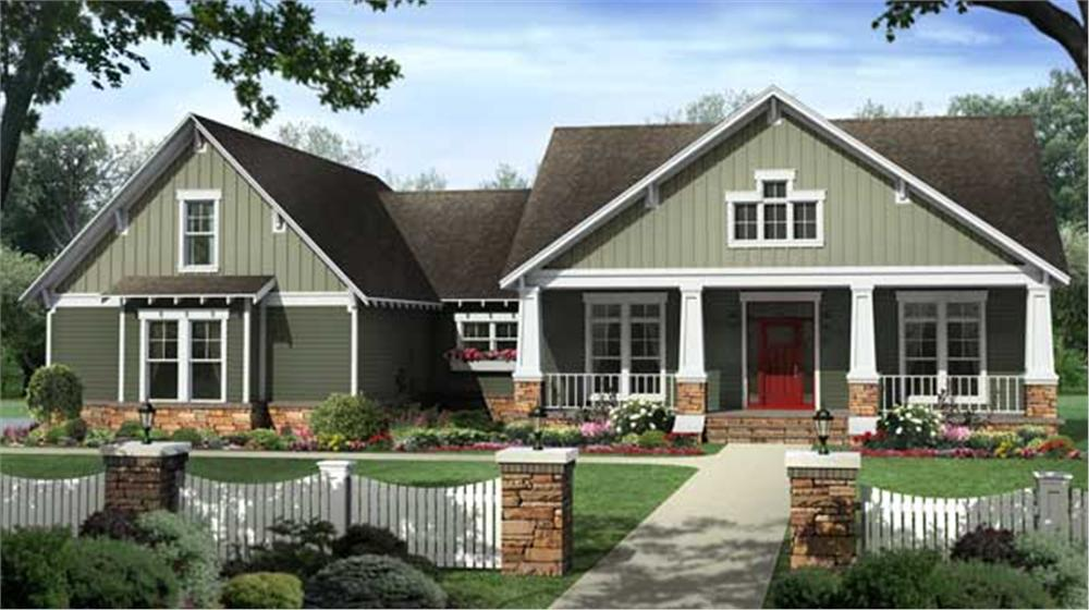 Front elevation of Country home (ThePlanCollection: House Plan #141-1107)