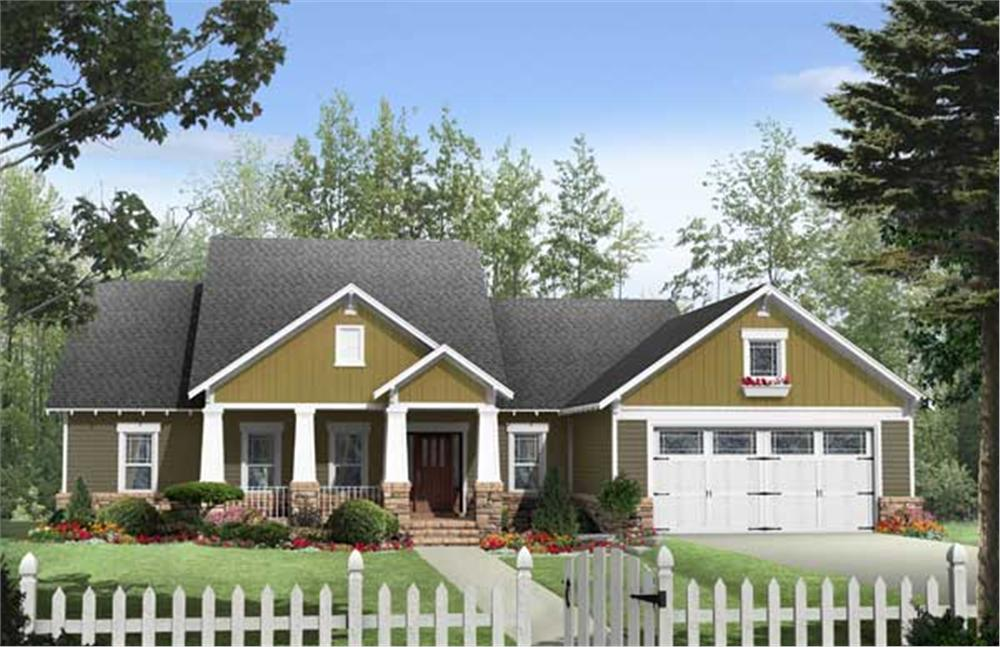 Here is a beautifully colored rendering of these Craftsman Home Plans.