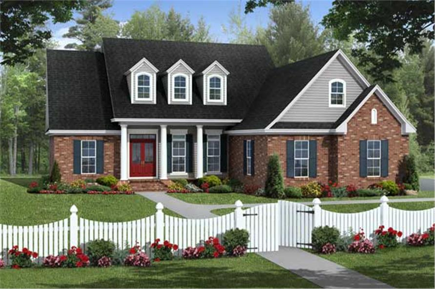 This is a Country Houseplan's front elevation.