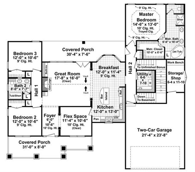 Floor Plan First Story. 3 Bedrm  1816 Sq Ft Craftsman House Plan  141 1115
