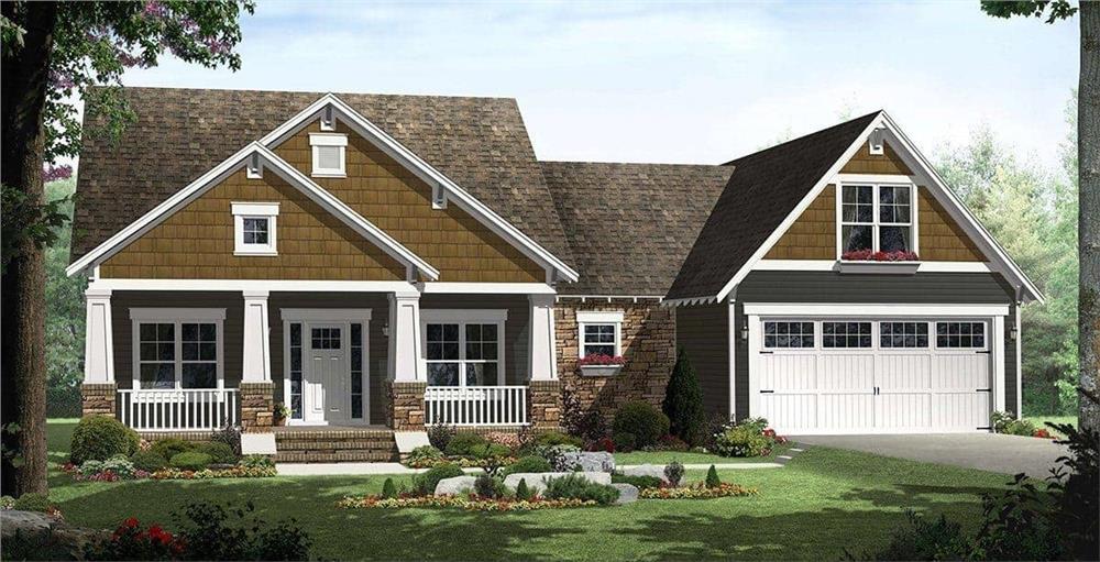 Charming rendering of Craftsman Home Plan #141-1115.