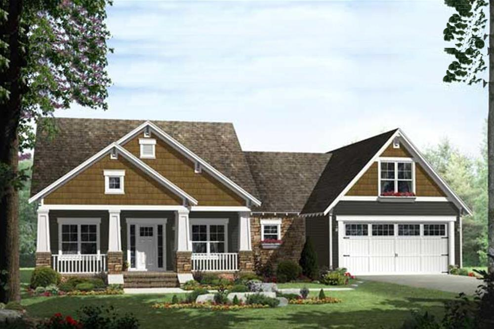 Charming rendering of Craftsman Home Plan #141-1115.