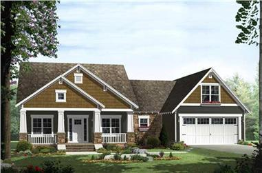 3-Bedroom, 1816 Sq Ft Craftsman House Plan - 141-1115 - Front Exterior