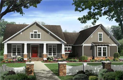 Here is yet another computer rendering of yet another set of  Craftsman House Plans.