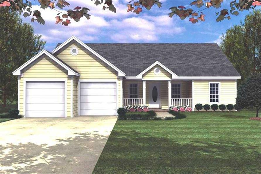 3-Bedroom, 1488 Sq Ft Ranch House Plan - 141-1118 - Front Exterior