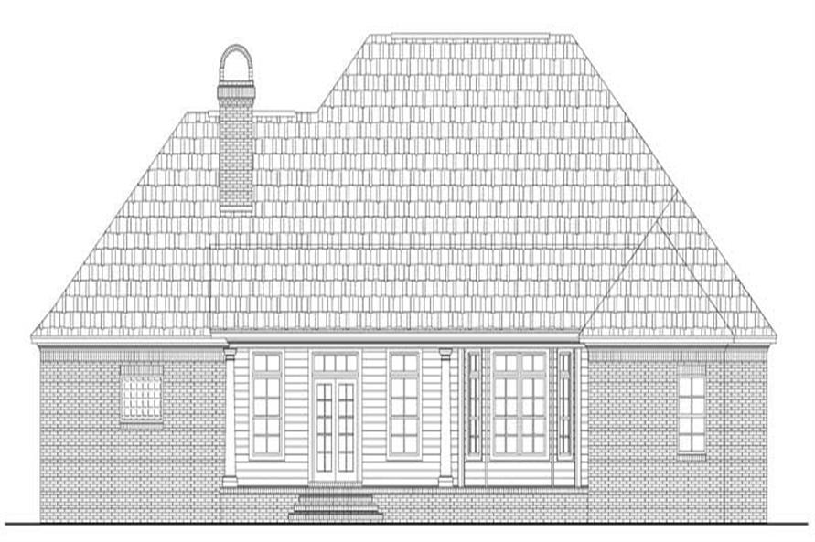 Home Plan Rear Elevation of this 3-Bedroom,2307 Sq Ft Plan -141-1121