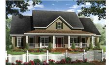 This is a grand front elevation for these Farmhouse House Plans.