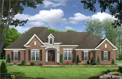This image is a colored front rendering for these European Home Plans.