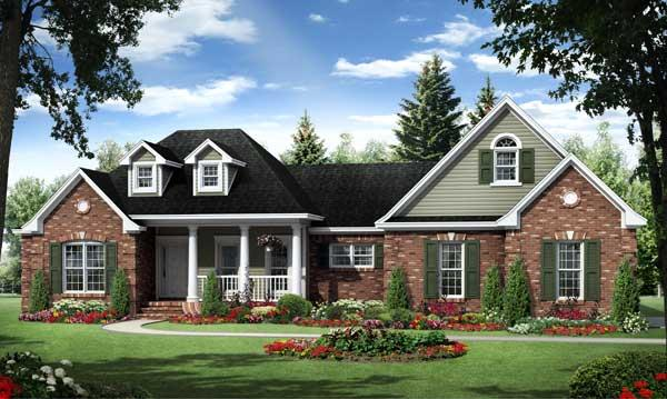 This is a computer rendering of these Ranch style French House Plans.