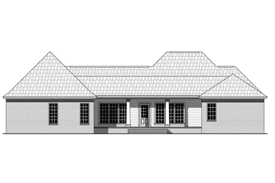 Home Plan Rear Elevation of this 4-Bedroom,2272 Sq Ft Plan -141-1127