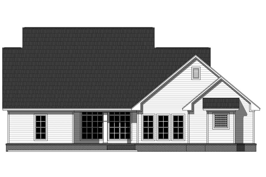 Home Plan Rear Elevation of this 4-Bedroom,2255 Sq Ft Plan -141-1129