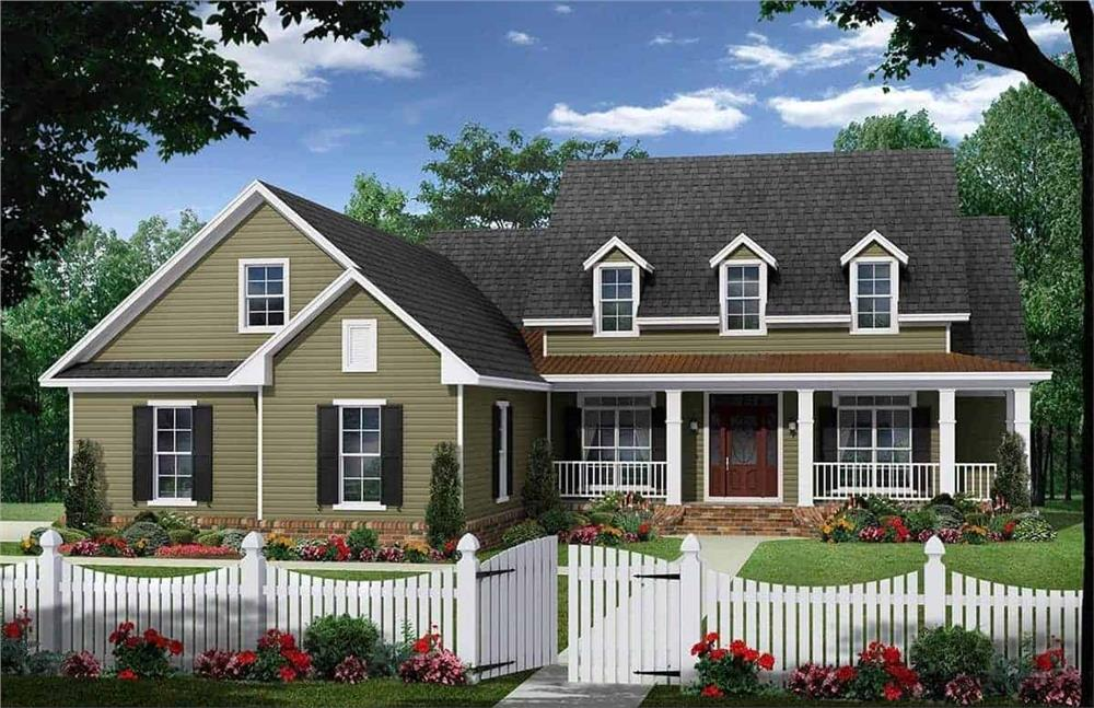 Front elevation of Cape Cod home (ThePlanCollection: House Plan #141-1129)